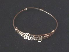 Vintage childs girls gold wire name bangle for Rosy by vintagesilverlynx on Etsy