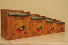 Vintage Kitchen Canisters Inarco JAPAN Rooster Set of Four Wood