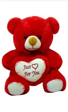 Buy A. Traders Red Color Soft Teddy Bear With White Heart- 45 CM by undefined, on Paytm, Price: Happy Teddy Bear Day, Cute Teddy Bear Pics, Teddy Bear Images, Large Teddy Bear, White Teddy Bear, Teddy Bear Pictures, Flower Phone Wallpaper, Bear Wallpaper, Teady Bear