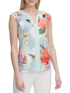 Calvin Klein Collection Floral-print Sleeveless Top In Seas Multi Calvin Klein Collection, Floral Prints, Tops, Shopping, Women, Style, Fashion, Swag, Moda