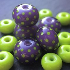 Purple and acid green handmade lampwork glass 'Joker' beads by Laura Sparling - Beads by Laura Clay Beads, Lampwork Beads, Handmade Beaded Jewelry, Arts And Crafts Supplies, Bead Art, Colored Glass, Glass Art, Green And Purple, Lampworking