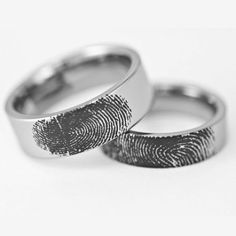 Couples Custom Engraved Pipe Cut Tungsten Fingerprint Rings His and Hers Matching Wedding Bands Personalized Flat Style Promise Rings For Couples, Rings For Girls, Rings For Men, Couple Rings, Unique Diamond Engagement Rings, Diamond Wedding Rings, Fingerprint Ring, Commitment Rings, Jewelry