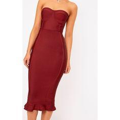 Dark Red Bandage Frill Hem Midi Dress ($59) ❤ liked on Polyvore featuring dresses, frill hem midi dress, bandage dress, red dress, bandage midi dress and flounce hem dress