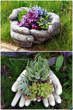 amazing ideas with cement DIY Cement Hand Planter Cup-Concrete Planter DIY Ideas Projects DIYHowto DIY Zement Hand Pflanzer Cup-Beton Pflanzer DIY Ideen Projekte Anleitung mit Video Hand Planters, Diy Cement Planters, Cement Garden, Cement Art, Cement Crafts, Concrete Projects, Concrete Cement, Garden Planters, Concrete Garden Ornaments