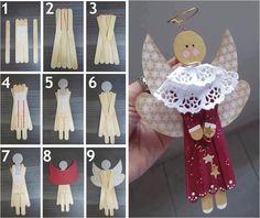 Angel Ornament with craft sticks