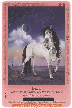 My Bella Sara card Magical Creatures, Fantasy Creatures, Horse Cards, Wiccan Spells, Anime Animals, Oracle Cards, Magical Girl, Beautiful Horses, Infancy