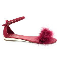 Interest18M by Bamboo, Red Fluffy Faux Feather Fur Flats w Metallic Base & Ankle Strap