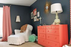 Coral and Navy Nursery