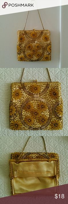 """Fabulous Daisy Beaded Evening Bag This sweet handbag is beaded all over with gold daisies. It is in very good condition for it's age - one spot on outside and a little bit inside. No funky smells or cigarette odours. Bag is large enough for phone - 6.5"""" wide x 6"""" deep. Chain has 5.5"""" drop. Bags Mini Bags"""