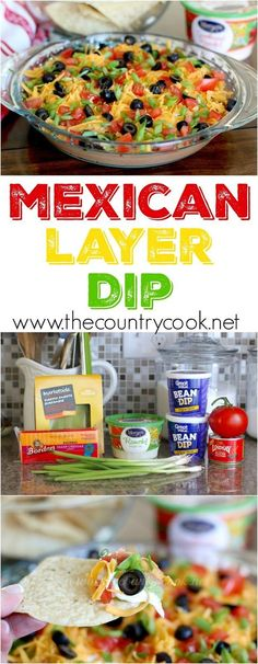 Mexican Layer Dip recipe from The Country Cook. This dip comes together in minutes and was eaten almost just a quick! So, so good! Even better than a 7-layer dip!