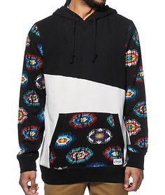 This thick terry pullover hoodie is crafted with a black and white asymmetrical colorblock body that is contrasted by a native print kangaroo pocket and sleeves.