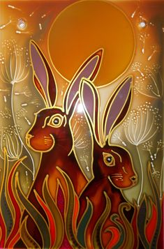 www.theglassorchard.com   I tried to age this painting with my choice of colours and the Moon Gazing Hares turned into sun worshiping hares. All my unique hand painted small panels are 20cm x 30cm on 6mm toughened glass £40 + postage. for a selection of designs send me a message at debsinledbury@live.co.uk