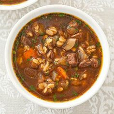 Beef and Barley Soup for Two.  This is a Cook's Country recipe.  NOTE:  8 oz BLADE STEAK for 2 service.  Double for additional servings.