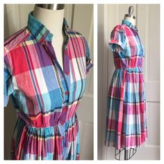 ⚡️SALE⚡️ Vintage Madras Plaid Shirt Dress Button up house dress with collar and cuffed short sleeves. Very cute and comfortable. Has an elastic waist and full skirt. Pictured on size 8 dress form. Made of a lightweight cotton- perfect summer dress. In excellent condition Vintage Dresses