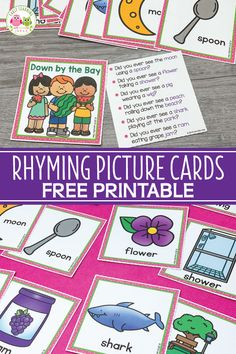 Use these free rhyming picture cards with the Down By The Bay song. Kids love matching the rhymes on the cards and using them to extend the classic song. Rhyming Kindergarten, Kindergarten Freebies, Kindergarten Language Arts, Kindergarten Literacy, Early Literacy, Rhyming Pictures, Emergent Literacy, Rhyming Activities, Picture Cards