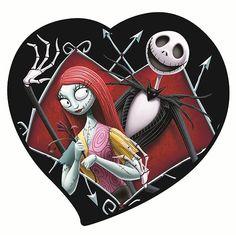 Nightmare Before Christmas Jack & Sally in Heart Magnet