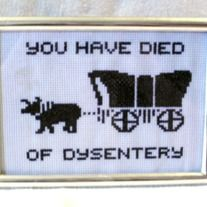 You gave the old prospector a ride. You delivered the package to Roaring River. You stopped when Billy got bitten by a snake. And for what?? This shit right here is why I preferred Carmen San Diego.  This cross stitch sampler comes matted under glass in a free standing 5 x 7 inch frame.  This...