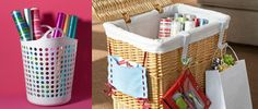 How to organize wrapping supplies credit: Real Simple and Home Made Simple