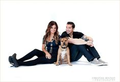 Family photo studio with dog great for Christmas card Christine Bentley photography