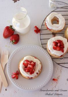 Strawberries and Cream Baked Donuts by www.whatscookingwithruthie.com