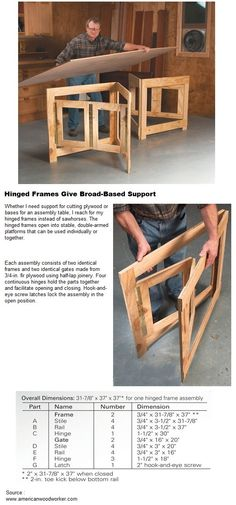 Idea. Hinge tabletop against wall and have these pull out accordion style to support it when pulled down