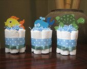 FOUR Nautical Mini Diaper Cakes for Baby Shower Decoration or New Baby Gift. $34.99, via Etsy.