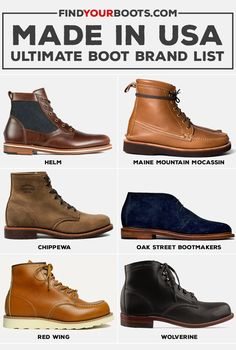 Explore the ultimate list of American made boots. We list the brands that offer Made in USA work boots, stylish heritage boots and western boots. Best Boots For Men, Men Boots, Casual Boots For Men, Gents Shoes, American Made Boots, Business Casual Shoes, Mens Boots Fashion, Cool Boots, Herren T Shirt