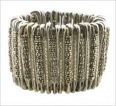 DIY silver safety pin bracelet