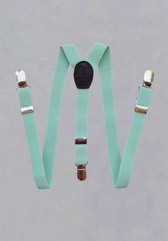 Bretelles à pinces pour garçon en vert d'eau pour cérémonies ou mariages