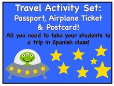Get your Spanish class ready to take a trip around Latin America, Spain, and Equatorial Guinea (yep, Spanish is the official language of this African nation!).   In this activity set you will find: 1. A passport 2. A postcard 3. An airplane ticket 4. Teaching tips and lot of fun!