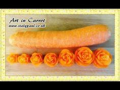 ▶ Art In Carrot Show - Vegetable Carving Carrot Roses - Carrot Flowers Garnish. - YouTube