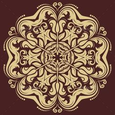 Oriental vector pattern with damask, arabesque and floral elements. Abstract background
