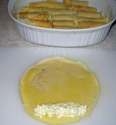 Nalysnyky are a rolled pancake or crepe stuffed with a cottage cheese mixture and baked in bubbling sweet whipping cream. European Dishes, Eastern European Recipes, Ukrainian Recipes, Russian Recipes, Ukrainian Food, Baba Recipe, Nordic Recipe, Russian Dishes, Pastries