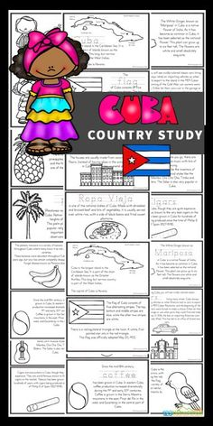 Travel to another country from the comfort of your house with these fun, engaging Cuba for Kids Free printable mini books. This long, narrow island is the largest island in the Caribbean Sea. It is also home to the smallest bird in the world - the bee hummingbird which grows to about 6 cm in length. Download the pdf file to use this Cuba Country Study to teach preschool, pre-k, kindergarten, first grade, 2nd grade, 3rd grade, 4th grade, 5th grade, and 6th grade students about Cuba; their way of Japan For Kids, Germany For Kids, Teach Preschool, Teaching Kids, Kids Learning, Social Studies Worksheets, Kids Math Worksheets, History Lessons For Kids, School Lessons