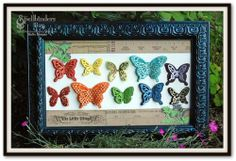 Butterflies Framed using Wonderful Wings, Paper, Glimmer Glam. Butterfly Wall Art, Paper Butterflies, Beautiful Butterflies, Paper Art, Paper Crafts, Diy Crafts, World Crafts, Christmas Makes, Frame Crafts