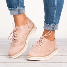 bcc7c048adac Women s Lace Up Perforated Oxfords Shoes Plus Size Casual Shoes