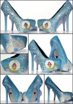 Cinderella Heels with Swarovski Crystals on Baby Blue Glitter Platforms