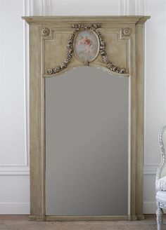 Large Painted Cherub and Carved Rose Swags Trumeau Mirror from Full Bloom Cottage