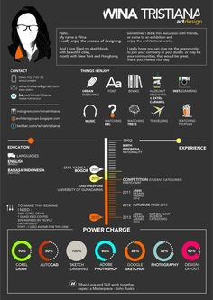 Resume cv architecture portfolio DESIGN RESUME by Wina Tristiana, via Behance infographic Graphic Design Resume, Cv Design, Resume Design Template, Layout Design, Creative Resume Design, Unique Resume, Design Ideas, Cv Template, Portfolio Resume
