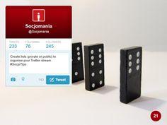 50 Twitter Tips (21). Full presentation: https://www.slideshare.net/Socjomania/the-ultimate-guide-to-twitter-50-useful-tips  #Twitter #TwitterTips #SocialMedia #SocialMediaTips