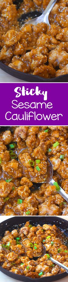 Make this healthy, crispy, sticky sesame cauliflower as an easy vegan recipe for dinner or it's also great for Sticky Sesame Cauliflower, Cauliflower Recipes, Vegetable Recipes, Vegetarian Recipes, Healthy Recipes, Cauliflower Sauce, Free Recipes, Cauliflower Roasted, Cauliflower Wings