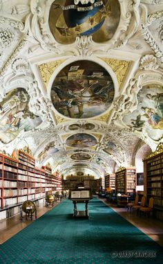 The Theological Library in the Strahov Monastery in Prague, Czech Republic.  Beautiful baroque.