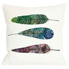 """Add a pop of bohemian appeal to your master suite chaise or living room sofa with this lovely pillow, showcasing a cosmopolitan feather motif.    Product: PillowConstruction Material: PolyesterColor: White and multiFeatures: Insert includedDimensions: 18"""" x 18"""""""