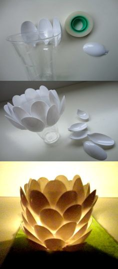 his post is aimed for you to make use of your plastic spoons in the most creative way possible. So, go on and check this incredible collection of DIY Amazing Plastic Spoon Crafts That Will Fascinate You. Easy Crafts, Diy And Crafts, Crafts For Kids, Arts And Crafts, Plastic Spoon Crafts, Plastic Spoons, Plastic Bags, Art Diy, Recycled Crafts