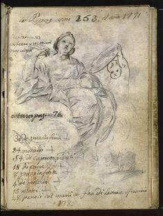 Goya en El Prado: Alegoría de la Prudencia. Apunte de bóvido. Anotaciones sobre el número de pontífices y lista de materiales