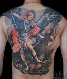 Beautiful religious piece by Little Dragon #InkedMagazine #back #tattoo #tattoos #religious #saint