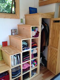#tumbleweed #tinyhouses #tinyhome #tinyhouseplans Good idea for tiny house stairs, which includes LOTS of storage. #TheCreativeCottage