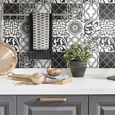 Change your kitchen with a peel and stick wallpaper back splash! $39.99 Black and white. Looks like tile. #removablewallpaper #blackandwhitewallpaper #kitchendecor #modernfarmhousestyle #homedecorideas #buyamericanmade Black And White Wallpaper, Modern Farmhouse Style, Peel And Stick Wallpaper, Kitchen Backsplash, Kitchen Decor, Tile, Change, Furniture, Home Decor