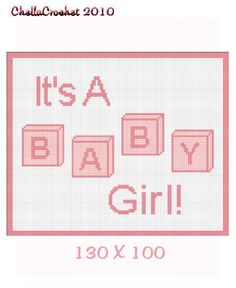 INSTANT DOWNLOAD Chella Crochet Baby Its a Girl Blocks Afghan Crochet Pattern Graph 100st .pdf