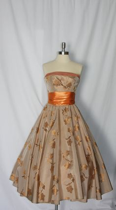 50's autumn tea length dress